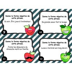 Cartes à tâches : La phrase négative Teaching Tools, Teaching Kids, Kids Learning, French Teacher, Teaching French, Daily 5 Writing, Classroom Arrangement, Education And Literacy, French Grammar