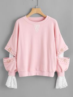 Contrast Lace 2 In 1 Pearl Beading Pullover -SheIn(Sheinside) - Winter Outfits Kawaii Fashion, Cute Fashion, Trendy Fashion, Girl Fashion, Fashion Design, 80s Fashion, Fashion 2020, Korean Fashion, Fashion Trends