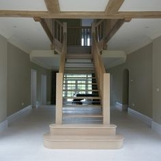 Oak stairs with bullnose treads and open risers Timber Staircase, Oak Stairs, Staircase Design, Garden Design, House Design, New Builds, Staircases, Joinery, Home Interior Design