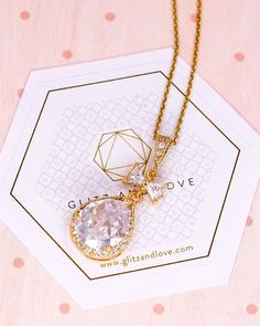 Gold Luxe Cubic Zirconia Bow and Teardrop Necklace, bridal jewelry, bridal shower gifts, bridesmaid jewelry, wedding jewelry, tie the knot, www.glitzandlove.com