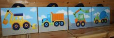 Set of 4 Boys Bright Construction Truck 16x20 Stretched Canvases Baby Nursery CANVAS Bedroom Wall Art via Etsy
