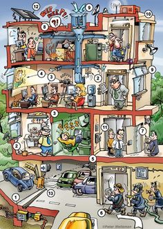 Illustration for the Hurriyet, of a modern office, by Peter Welleman, www.cartooncreator.nl