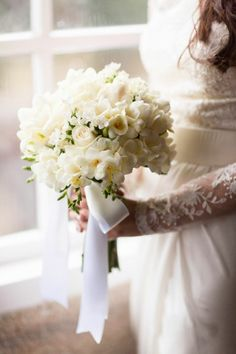 white rose and crocus bouquet