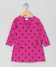 Fuchsia Polka Dot Organic Pocket Dress