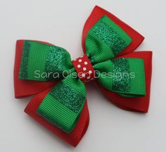 Christmas Stacked Hairbow Double Tuxedo Bow by SaraOlsenDesigns, $5.00