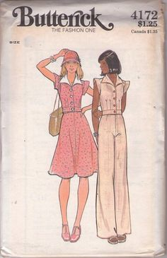 Butterick 4172 Vintage 70's Sewing Pattern ADORABLE Disco Era Wing Collar Cap Sleeve Hip Band Blouse, Top, Flared Flirty Skirt, High Waisted Pants