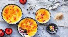 Plum and Cardamom Bruleé - https://www.yeovalley.co.uk/the-valley/in-the-kitchen/recipe/plum-and-cardamon-brulee