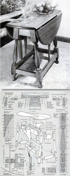 Colonial Drop Leaf Table Plans - Furniture Plans and Projects | WoodArchivist.com