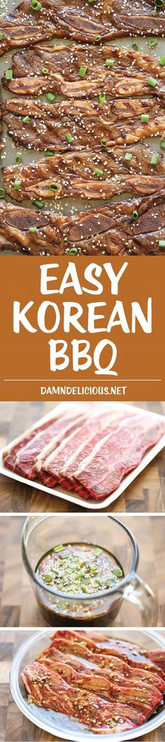 Easy Korean BBQ Thanks for this post. Easy Korean BBQ – Korean BBQ can be made right at home – it only takes 10 min prep and tastes so much better than eating-out! And it's cheaper too! Asian Recipes, Beef Recipes, Cooking Recipes, Korean Dishes, Korean Food, Korean Bbq At Home, I Love Food, Good Food, Yummy Food