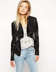 ASOS | ASOS Jacket with Waterfall Front In Leather Look at ASOS