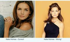 katie holmes - (shaded) soft summer  Correct colors (left) Incorrect colors (right)