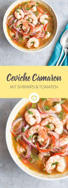 Diese Art von Ceviche mit Shrimps, Tomaten und Limettensaft stammt aus Ecuador und ist dort eines der Leibspeisen der Einheimischen.