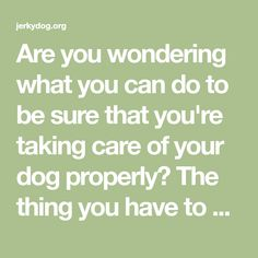 Are you wondering what you can do to be sure that you're taking care of your dog properly? The thing you have to be sure of when you're wanting to care for a