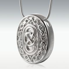 Oval Celtic Infinity Sterling Silver Cremation Jewelry
