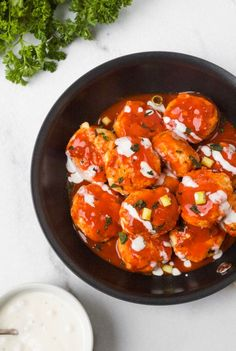 WHOLE30 BUFFALO CHICKEN MEATBALLS - Organically Addison Best Paleo Recipes, Whole 30 Recipes, Dairy Free Recipes, Buffalo Chicken Meatballs, Healthy Comfort Food, Whole30 Ranch, Quick And Easy Appetizers, Ground Chicken, Spaghetti Squash