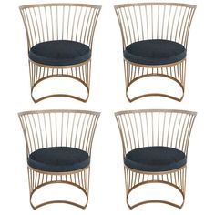 Set of Four Mid-Century Outdoor dining chairs   From a unique collection of antique and modern chairs at https://www.1stdibs.com/furniture/seating/chairs/