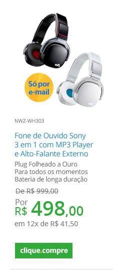 Fone de Ouvido Sony 3 em 1 com MP3 Player e Alto-Falante Externo - R$ 498,00 no Walmart