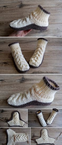 How to Make Stripes Slippers - Design Peak Scroll down for pattern in English Circular Knitting Needles, Loom Knitting, Knitting Socks, Baby Knitting, Crochet Shoes, Crochet Clothes, Knit Crochet, Striped Slippers, Knitted Slippers