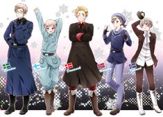 Tags: Fanart, Axis Powers: Hetalia, Denmark, Sweden, Finland, Pixiv, Norway, Iceland, Nordic Countries, Mr. Puffin, Fanart From Pixiv, Romion