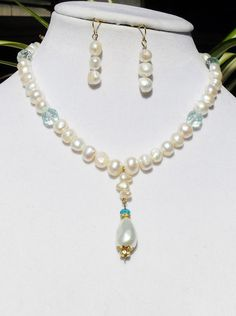White freshwater pearl jewelry set aquamarine jewelry by ElmsRealm
