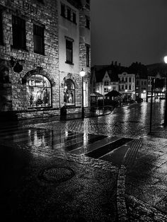 A rainy day in Aalesund Norway. Black and white city photography. Black And White City, City Photography, Old Pictures, Norway, Day, Antique Photos, Old Photos, Urban Photography