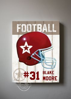 Football Sports Nursery Canvas Art ,  Football Wall Hanging, 12x16 Baby Boys Room  Art Print