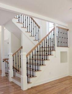 Extravagant Farmhouse Staircase Pictures For Your Residence Decor: 80 Modern Farmhouse Staircase Decor Ideas Wrought Iron Stair Railing, Stair Railing Design, Staircase Railings, Banisters, Staircase Ideas, Iron Spindle Staircase, Staircase Pictures, Staircases, Iron Balusters