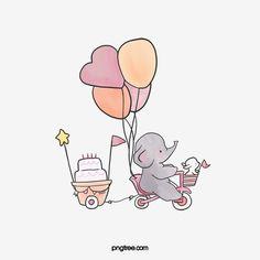 Cute Easy Animal Drawings, Cute Little Drawings, Cute Cartoon Drawings, Easy Drawings, Baby Elephant Drawing, Cartoon Elephant, Baby Cartoon, Elephant Ride, Cute Disney Wallpaper