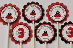 Personalized Lady bug cupcake toppers red and by APookandAPeep, $9.00