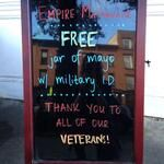 Show your military ID today at #EmpireMayo for a free gift from us. Happy Veterans Day! #thankavet #veteransday