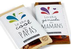 Pour les mamans ou les papas gourmands, voici un joli emballage pour décorer une tablette de chocolat. Facile, il faut : imprimante et de la colle. Une idée Wesco Family