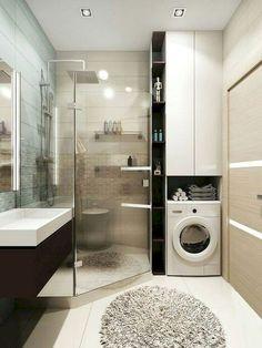 ✔ 40 small bathroom remodel ideas on a budget 36 - Das Badezimmer - Bathroom Decor Laundry In Bathroom, Bathroom Interior Design, Trendy Bathroom, Bathroom Makeover, Modern Bathroom, Small Remodel, Bathroom Decor, Bathroom Renovation, Small Bathroom Makeover