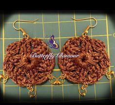 Crochet Golden medallion Earrings, Stunning Handmade Crochet earrings, Gold