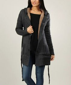 Love this Gray Cable-Knit Wool-Blend Belted Cardigan by Annabelle on #zulily! #zulilyfinds