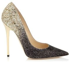 Jimmy Choo Anouk Black and Nude Coarse Degrade Glitter Pointy Toe Pumps on shopstyle.com
