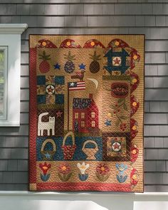 Pleasant Grove Primer Kit Capture a charming Americana look in this folk-art-style pieced and hand appliqued sampler. Kit has directions by Jan Patek, and fabrics for the top and binding from Jan's vintage-inspired Sycamore collection for Moda. Primitive Quilts, Primitive Folk Art, Primitive Crafts, Primitive Patterns, Primitive Snowmen, Primitive Christmas, Country Christmas, Christmas Christmas, Hand Quilting Patterns