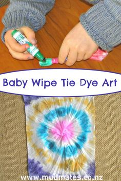 Baby Wipe Tie Dye Art - Mud Mates messy play adventures blog. This easy baby wipe tie dye art activity is simple but effective & fun for children of all ages. Create beautiful tie dye creations with minimal mess.