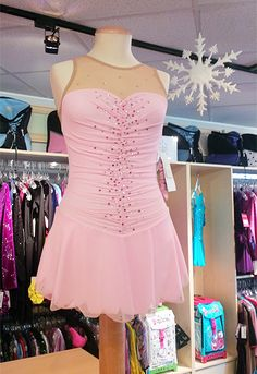 #fsbdressoftheweek Pretty in Pink. This Del Arbour dress is decorated in Swarovski crystals. $299.99. Available at The Figure Skating Boutique. www.skatingboutique.com