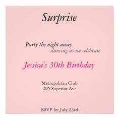 Pink Surprise Party Personalized Announcement