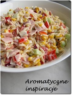 Makaronowa sałatka z papryką konserwową, szynką i ogórkiem Orzo Recipes, Salad Recipes, Cooking Recipes, Healthy Recipes, Appetizer Salads, Appetizer Recipes, Big Meals, Side Salad, Frugal Meals