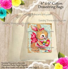 5 PAK Vintage Easter Bunny Rabbit Cotton by SundayTreasures