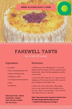 No Count Fakewell Tarts - Weight Watchers Friendly ~ A Life Of Lovely Ww Recipes, Light Recipes, Clean Recipes, Recipies, Low Fat Desserts, Low Fat Snacks, Slimming World Deserts, Slimming World Recipes, Baking Powder Ingredients