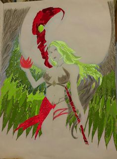 Magic Angel Warrior in green and red