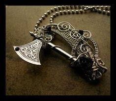 Gothic Black Rose - Battle Axe Pendant by LadyPirotessa   http://www.zibbet.com/LadyPirotessa/artwork?artworkId=2192280