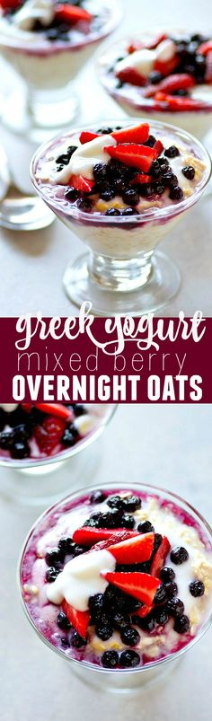 Super-creamy and layered with vanilla greek yogurt and tons of mixed berries, these mixed berry overnight oats are a CINCH to throw together the night before and a perfect morning boost.