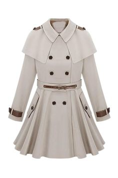 Shop Cape Shoulder Epaulet Beige Trench Coat at victoriaswing, personal womens clothing online store! high quality, cheap and big discount, latest fashional style!