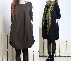4 Colors Spring/Autumn Dresses Long Sleeve Loose Fit Long Shirt Soft Cotton Clothing Loose Fit Long Top With Pockets (MM049) on Etsy, $49.00