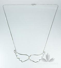 Naszyjnik w kształcie skrzydeł anioła, srebro próby 925.