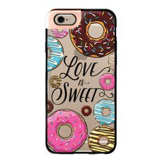 iPhone 6 Plus/6/5/5s/5c Metaluxe Case - Love is Sweet - Donuts ($50) ❤ liked on Polyvore featuring accessories, tech accessories, iphone case, iphone cases, iphone cover case and apple iphone cases