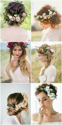 Floral crown instead of a veil #weddinghairstyles #peinadosartisticos